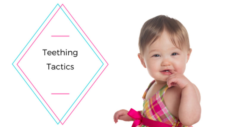 Infant smiling with text Teething Tactics at a Preschool & Daycare Serving Greenville, AL