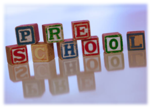 Block of letters spelled Pre School at a Preschool & Daycare Serving Greenville, AL