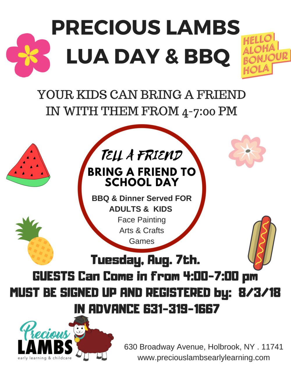 Text image about Lua day and bbq at a Preschool & Daycare Serving Greenville, AL